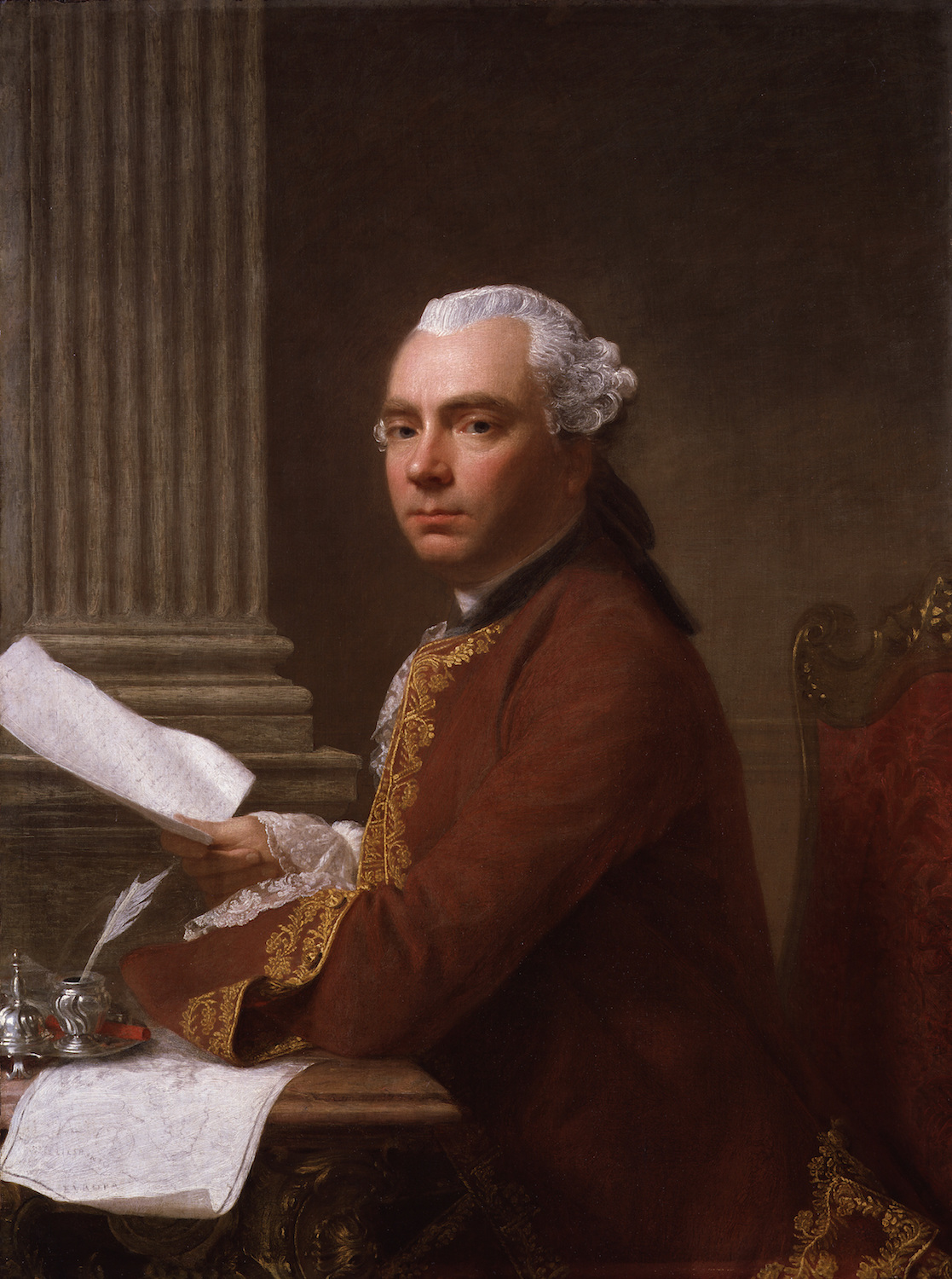 Painting of Robert Wood sitting at desk with paper in hand