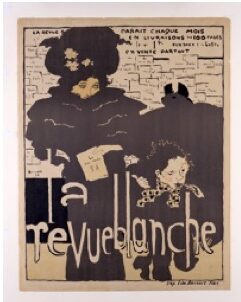 black and white book cover with two french women