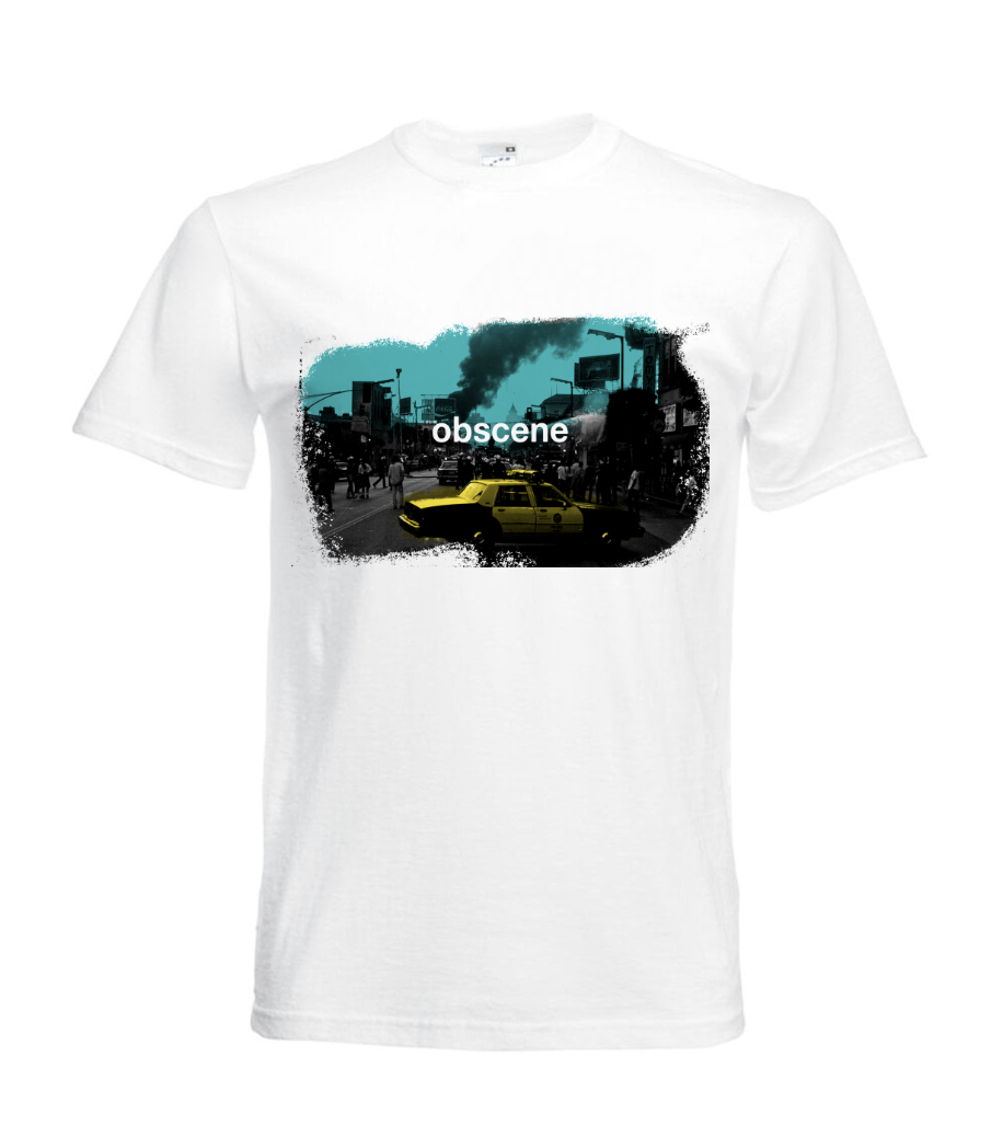 obscene t-shirt with city and yellow taxi graphic (Click to view Gif)