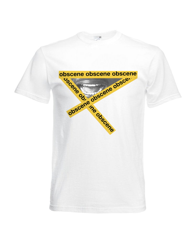 Obscene branded T-shirt with mouth and yellow tape graphic (Click to view Gif)