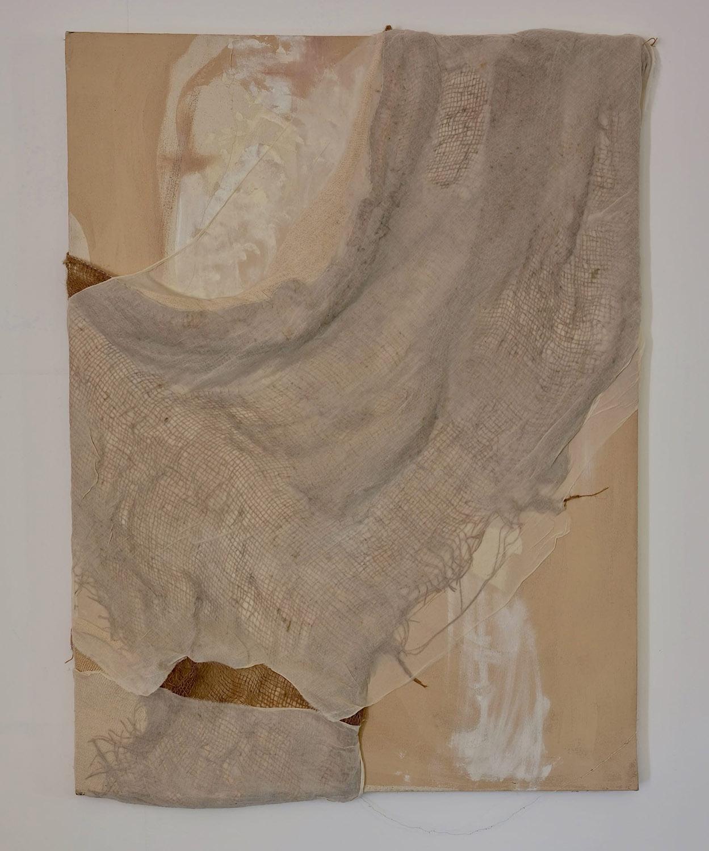 Hessian, muslin, gauze and acrylic on canvas.