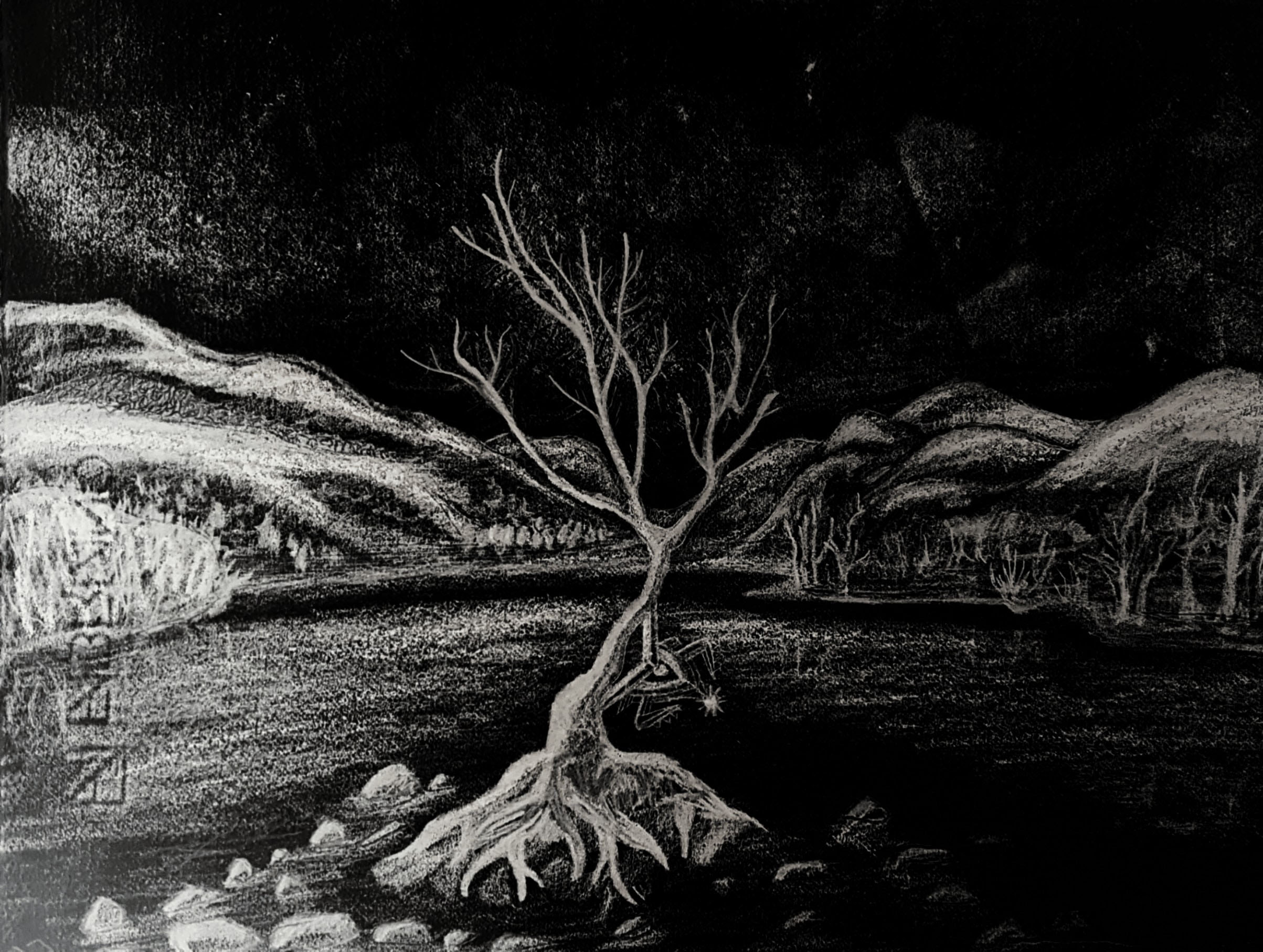 Monochromatic drawing on paper