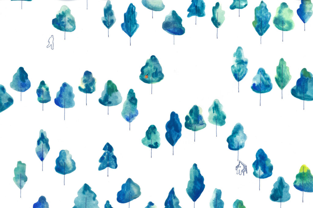 Illustration of blue trees one with a small apricot