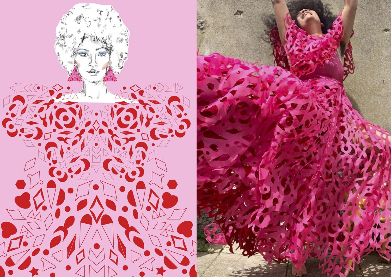 Pink Cutwork Dress Illustration
