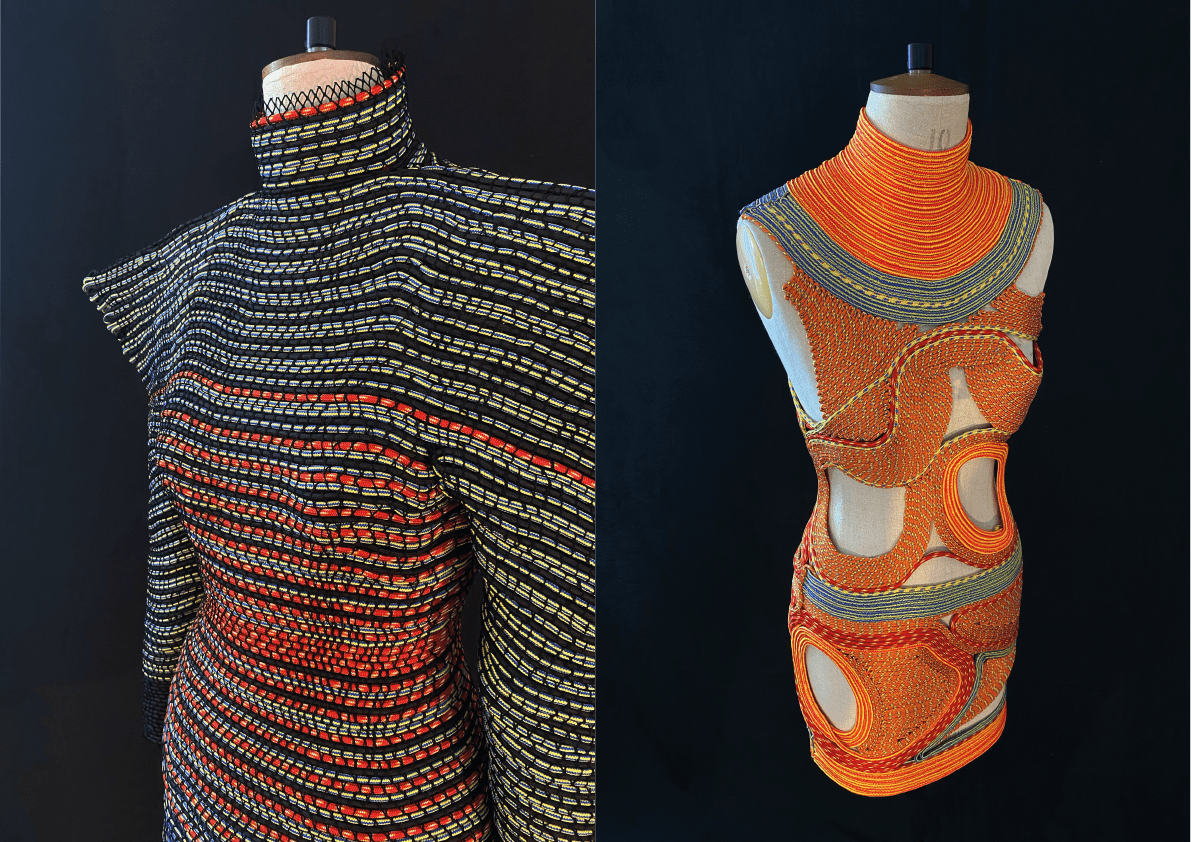Woven, striped garments on mannequins