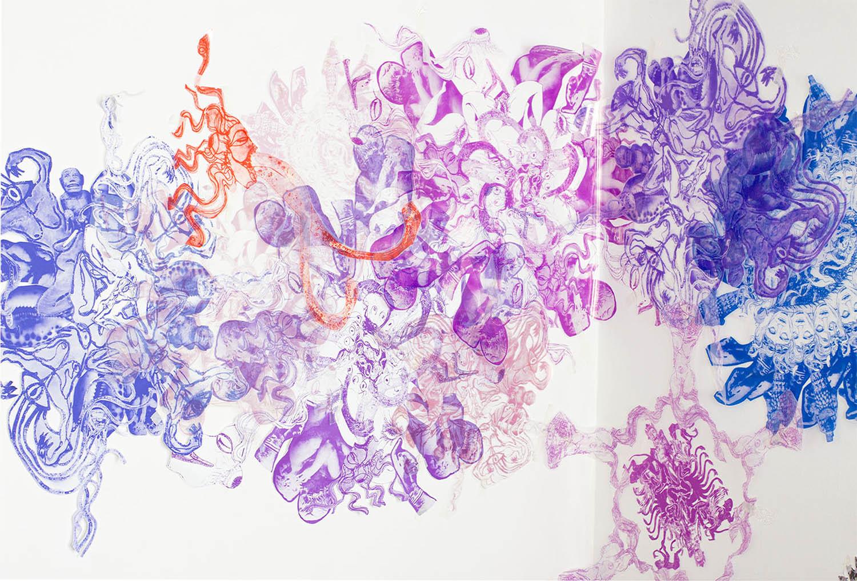 Pink purple and blue swirls