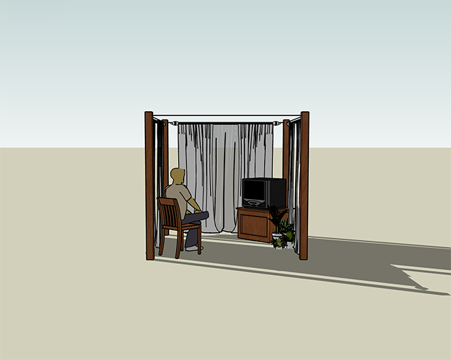 Digital illustration of an intended installation art work. a curtained freestanding area with a TV and person sitting