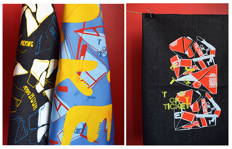 Three printed textile samples