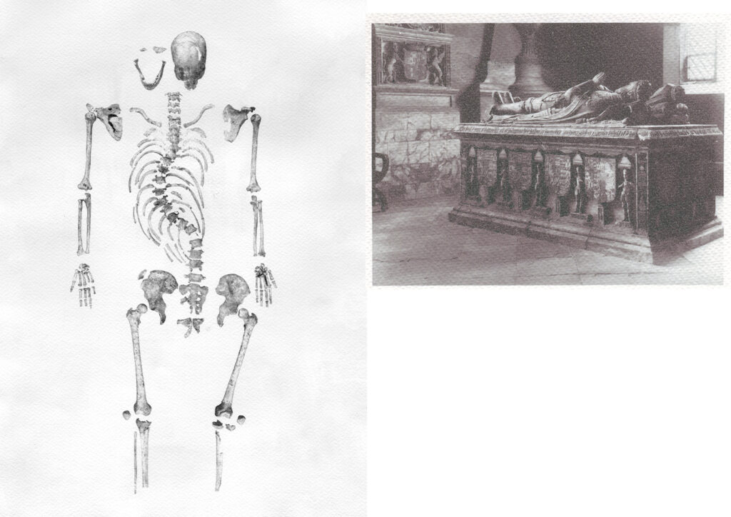 archive prints - a skeleton and mausoleum