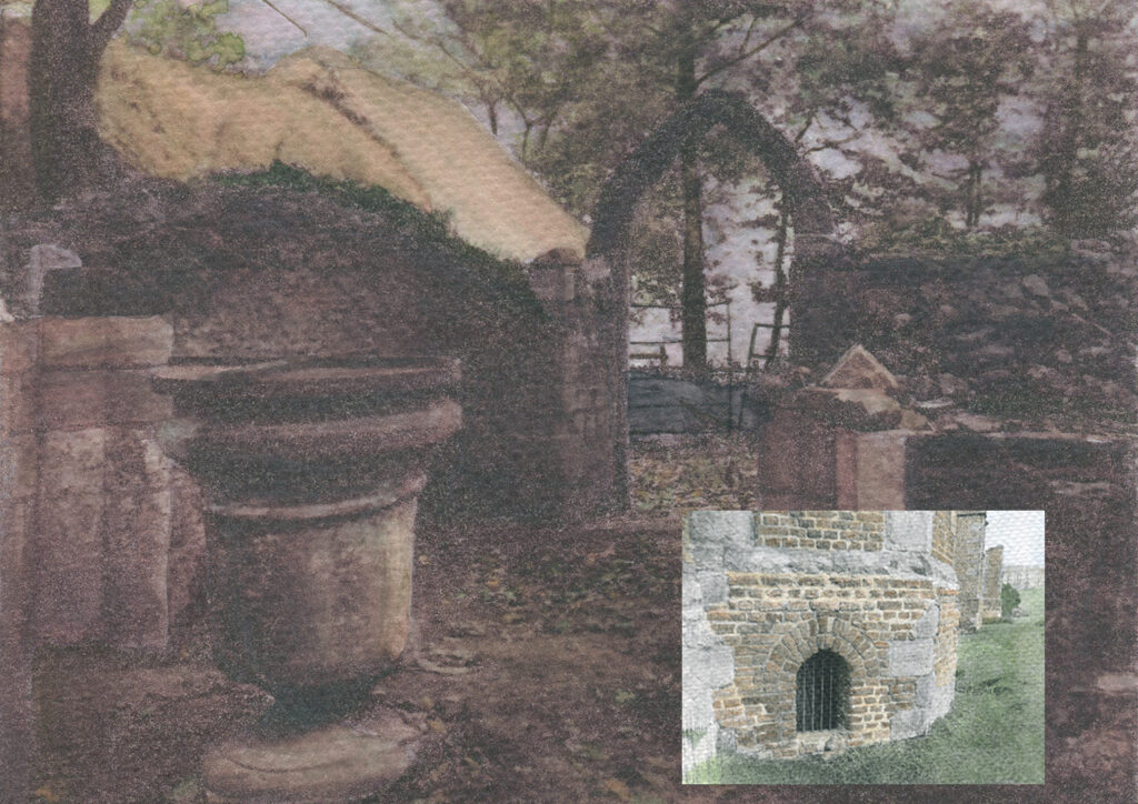 archive print of ancient dwellings