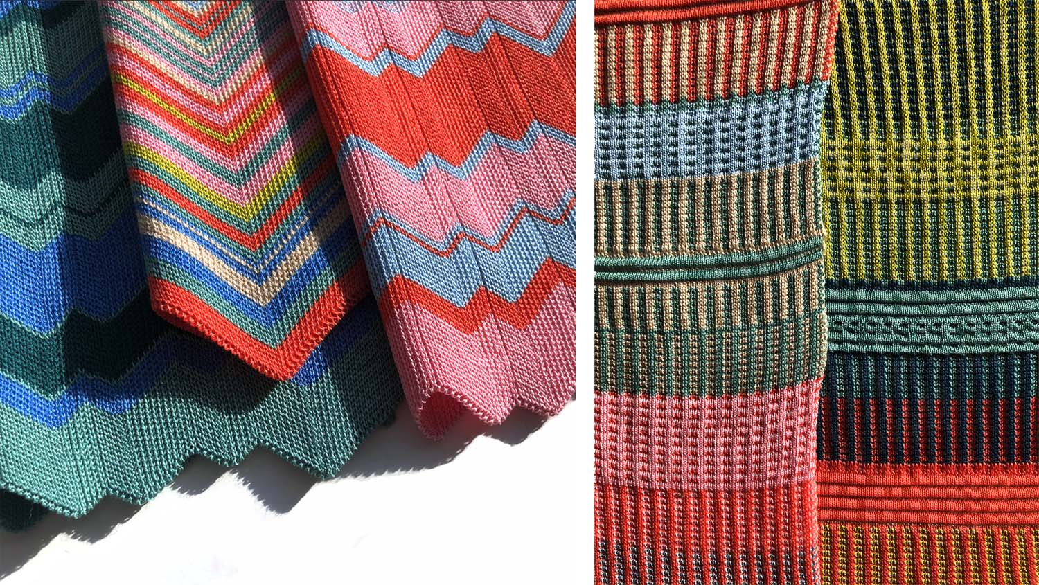 Chevron and Pocket technique knitted samples.