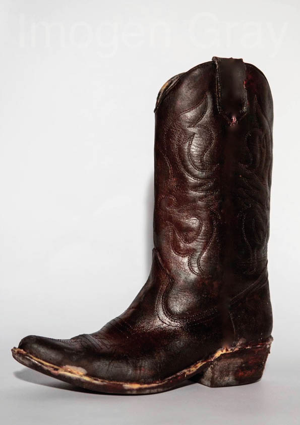 Cowboy Boot made from recycled leather material composite.