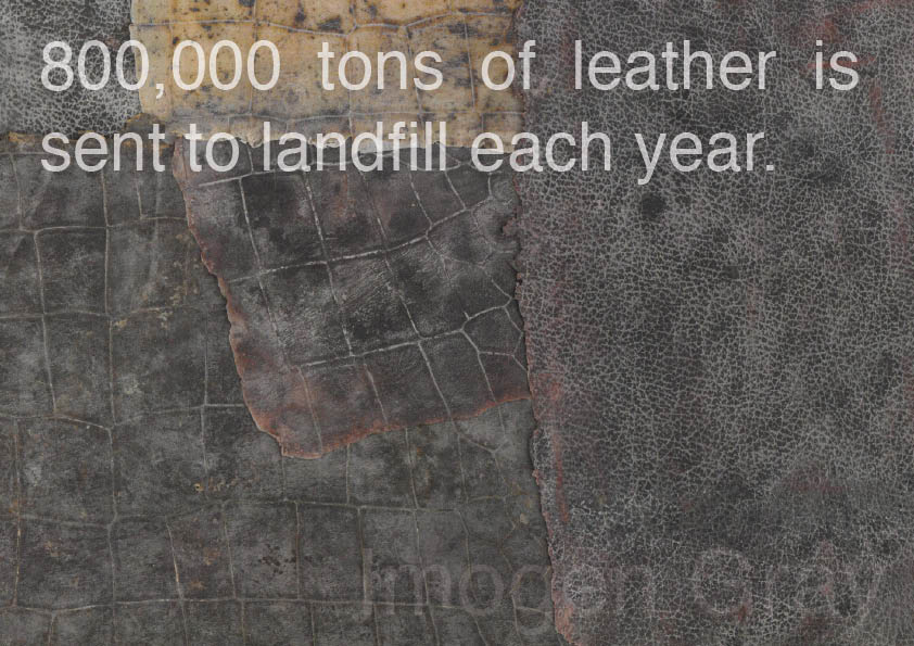 """""""800,000 tons of leather is sent to landfill each year"""" quote on leather composite materials samples"""