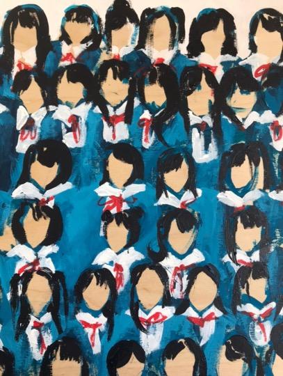 Painting of faceless Japanese school girls