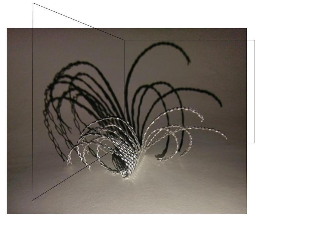 Woven strips of metal of metal set into an line drawing of a corner with deep shadows casting shapes against a wall