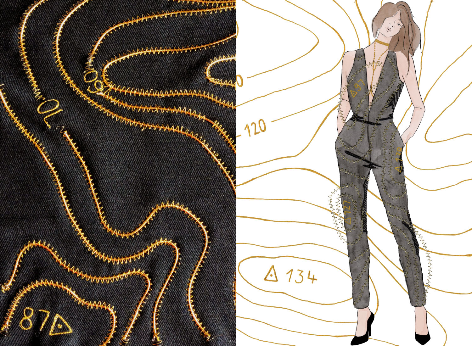 illustration of woman wearing a jumpsuit, alongside is close up photograph of a textile sample