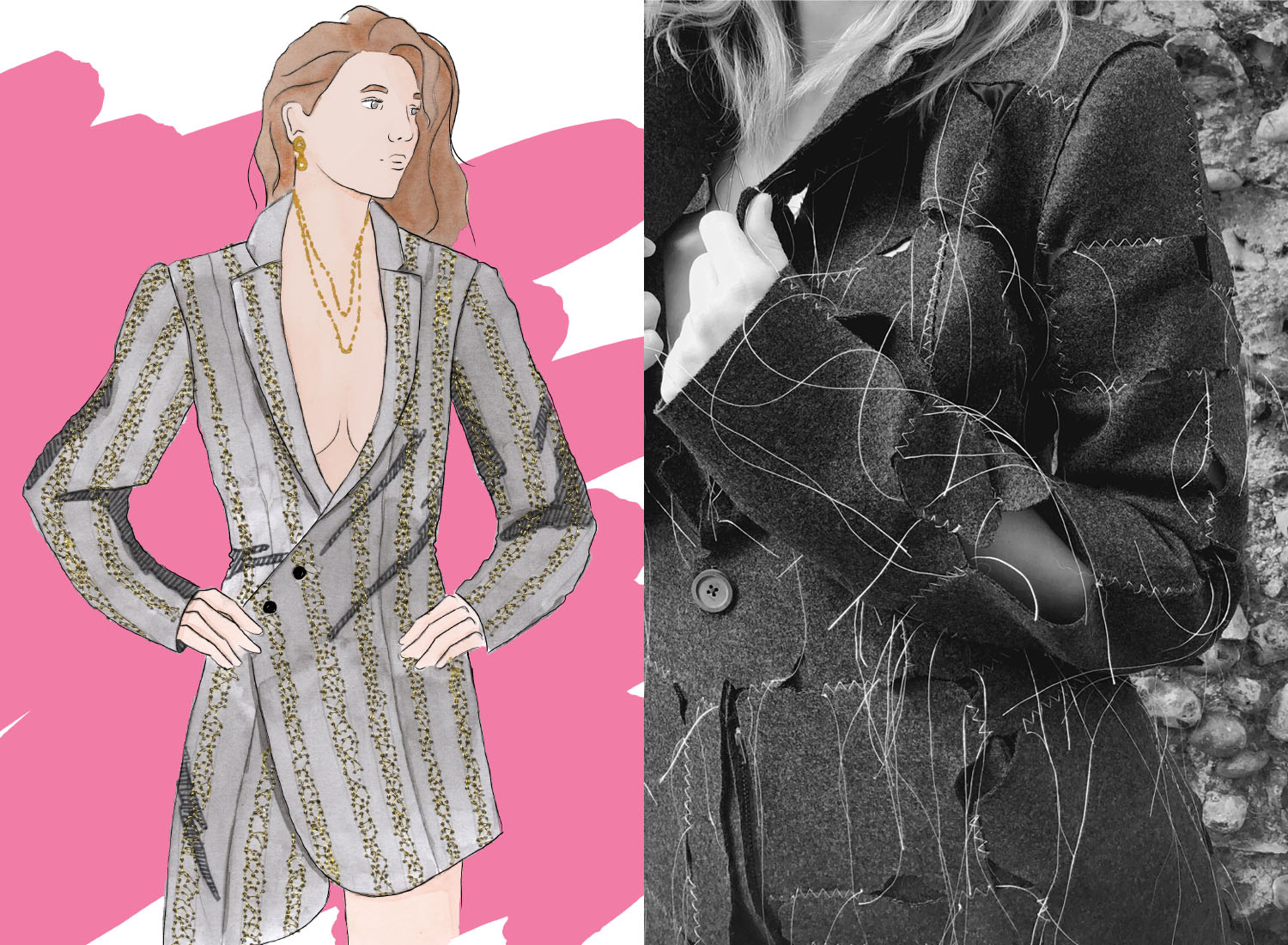 illustration of woman in grey jacket along with photograph of a close up of the actual garment