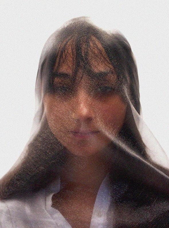 female model in clear veil