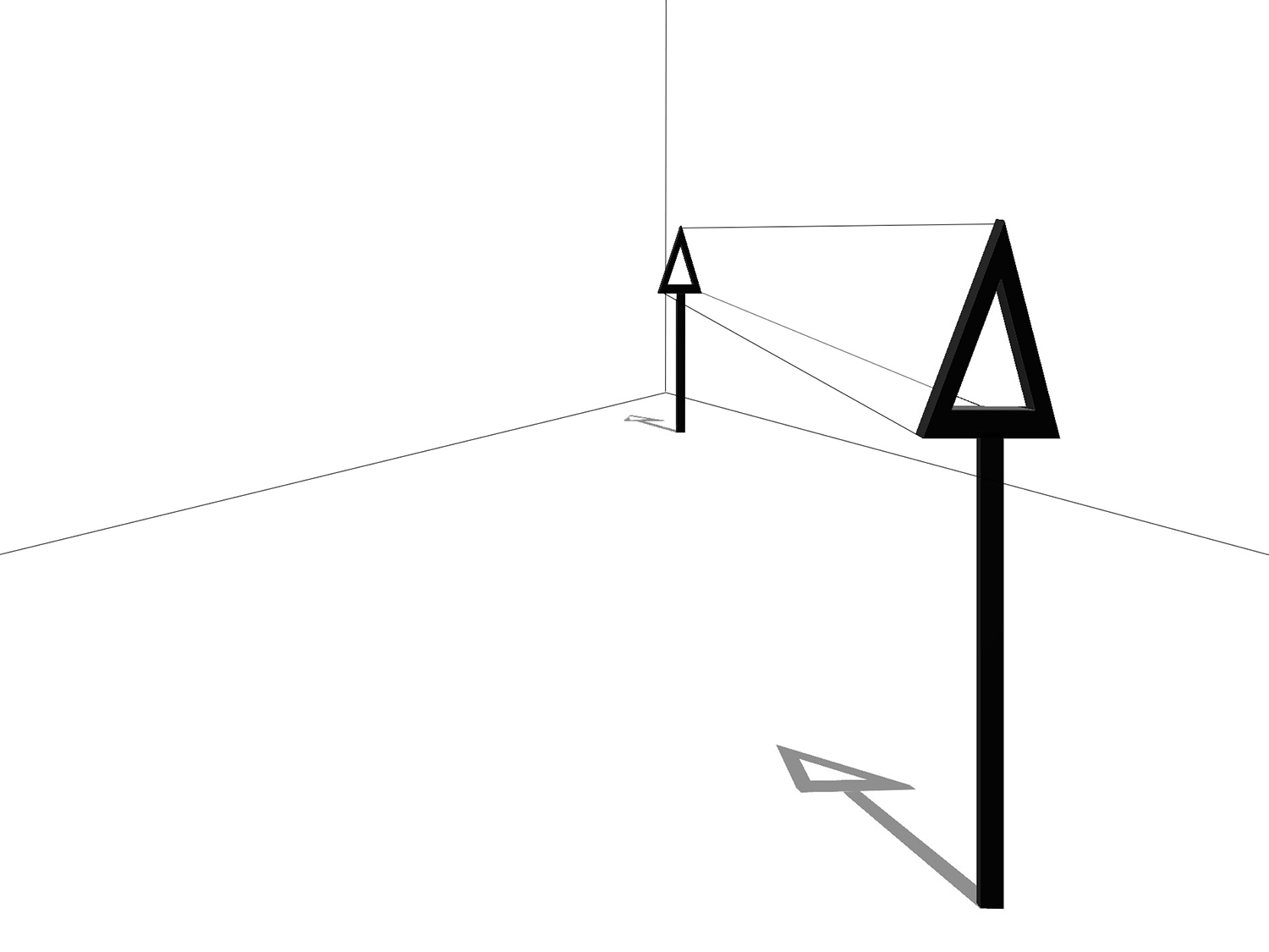 Digital illustration of a sculpture. Two triangles on a post with lines stretching between in a white corner space.
