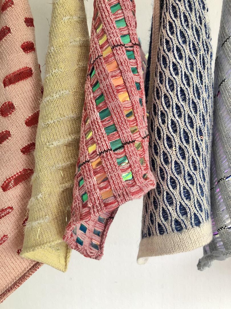 Machine Knit samples various colours