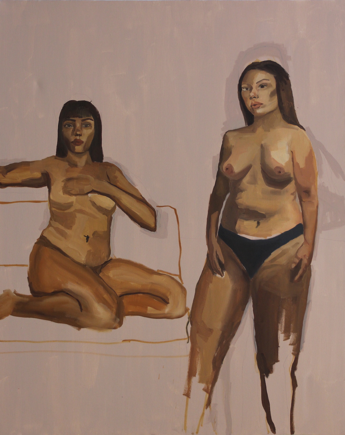 two figures standing sitting