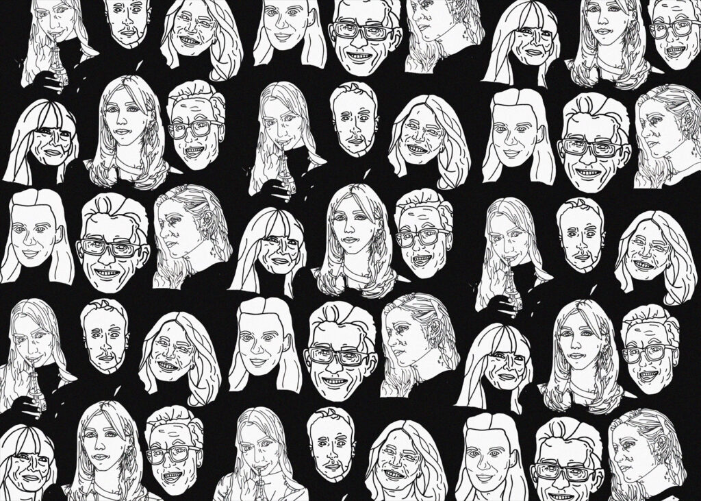 Graphic illustration with faces