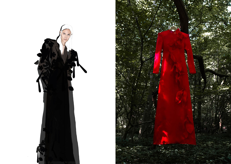 Fashion illustration and photograph