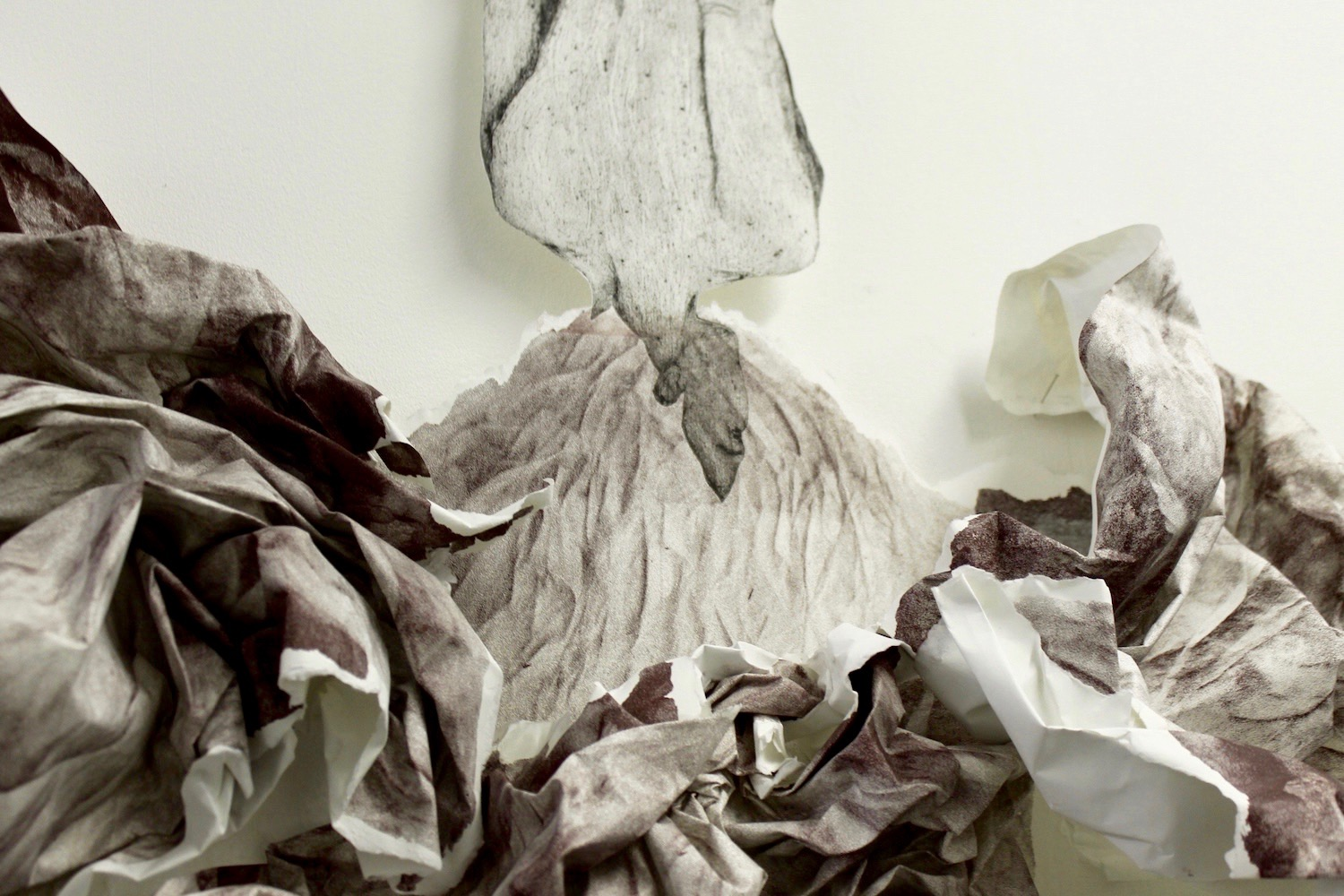 Scrunched paper volcano