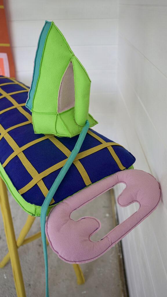 Vibrant stitched fabric sculpture