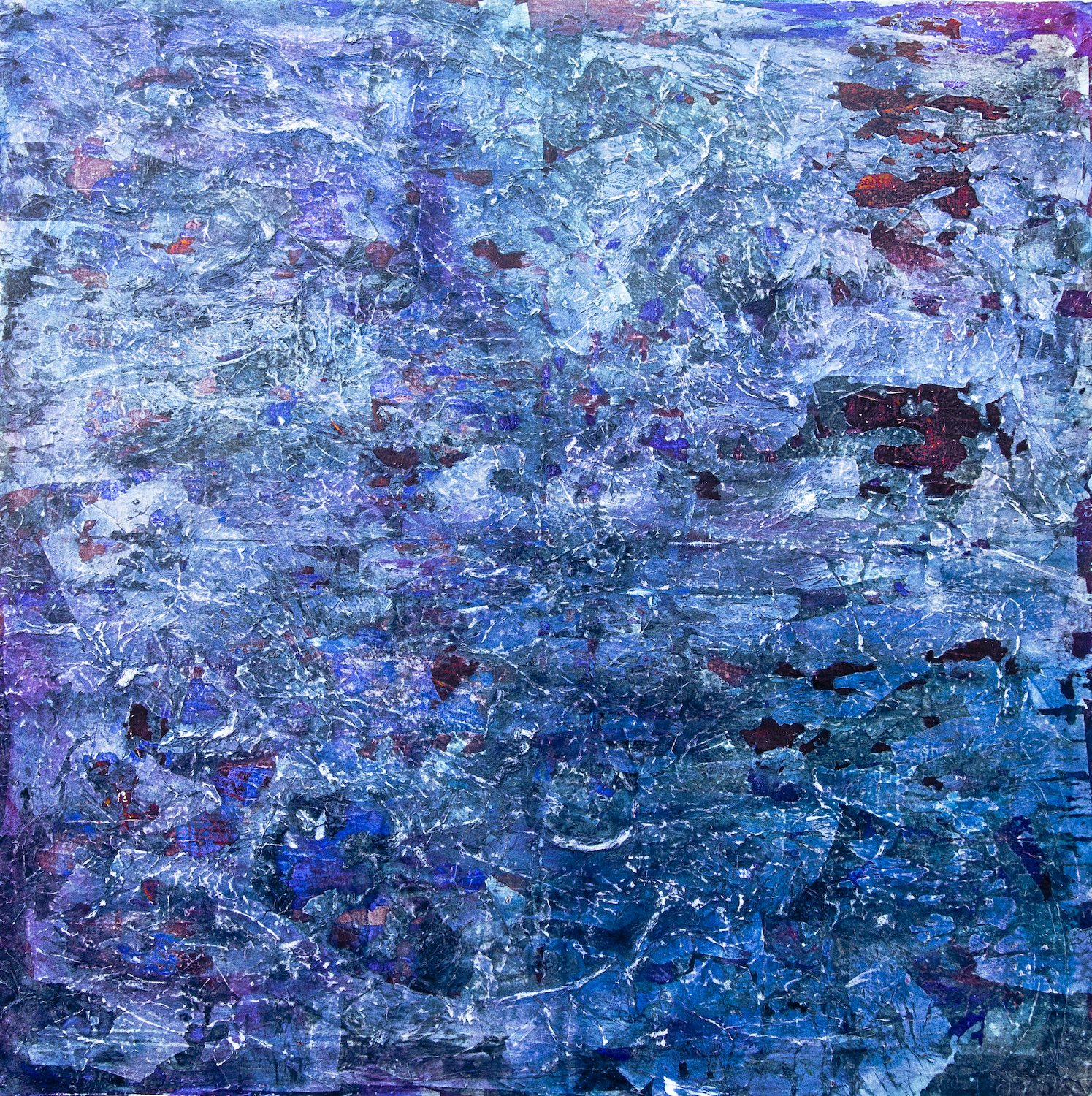 Blue White and Purple jagged painting