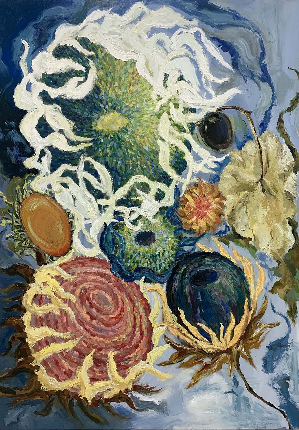 Painting of various sunflowers on blue background