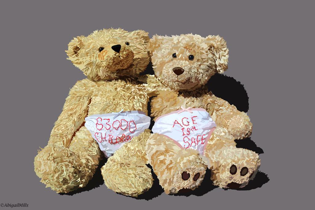 two teddy bears in knickers