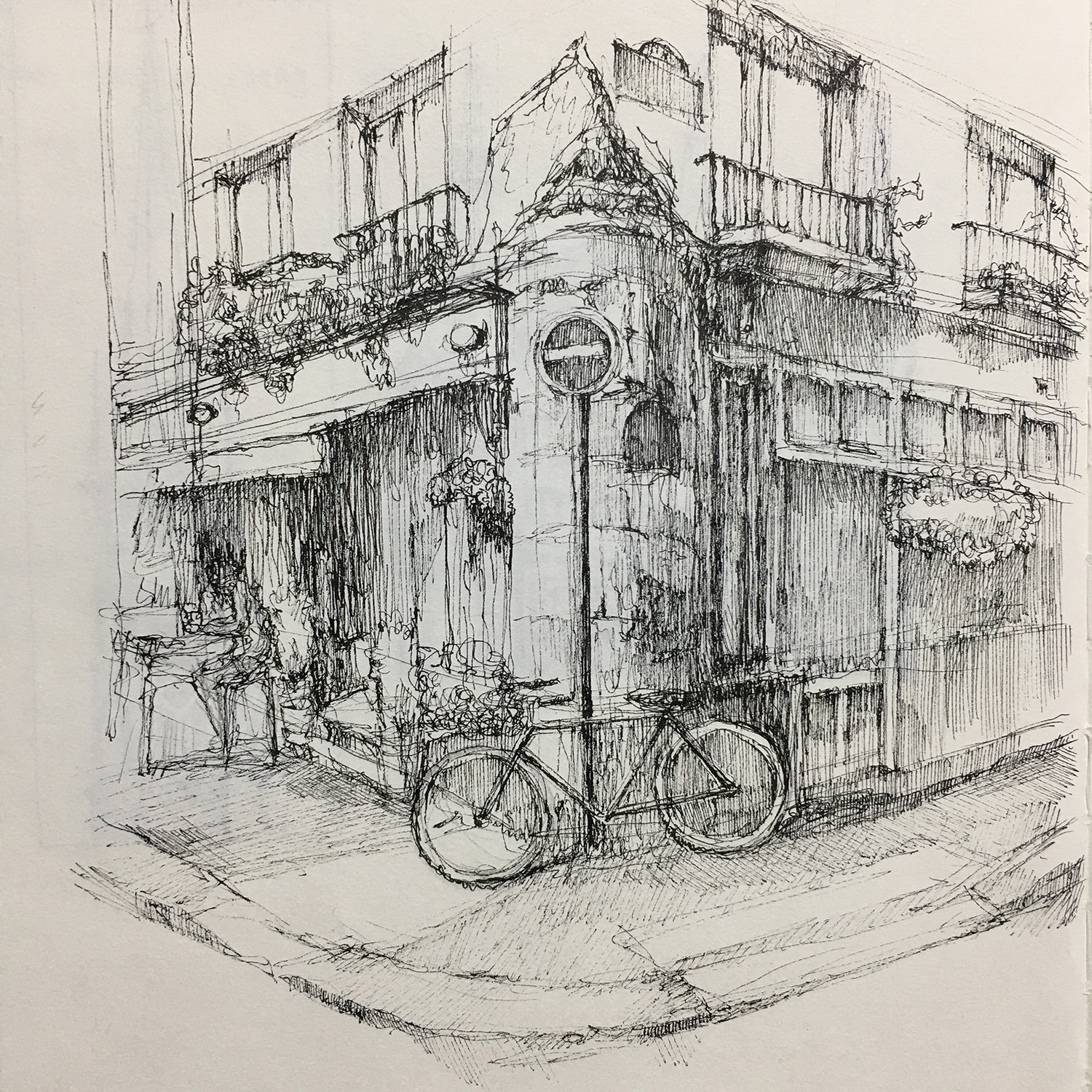 Drawing of a Paris alley