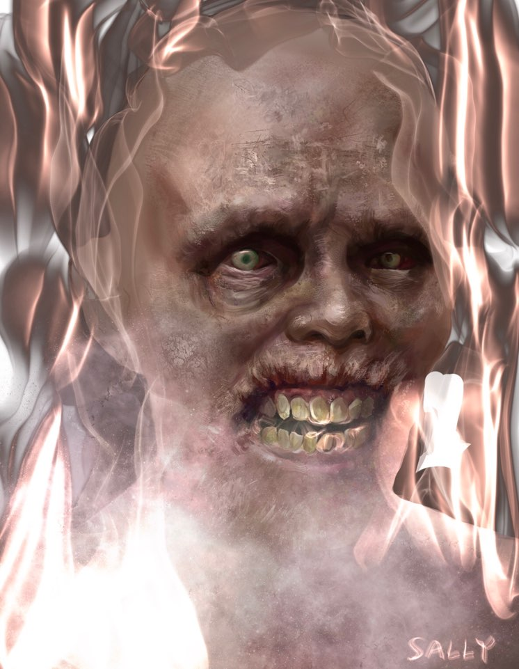 CGI image of a flaming zombie face